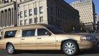 Hearse transfers Whitney Houston's body to church in Newark, 18 Feb