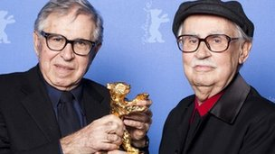 "Italian directors Vittorio (R) and Paolo Taviani receive the Golden Bear prize awarded for their film ""Caesar Must Die"