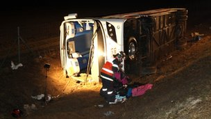 The coach involved in the crash