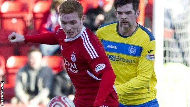 Fyvie and Sheridan challenge for the ball at Pittodrie