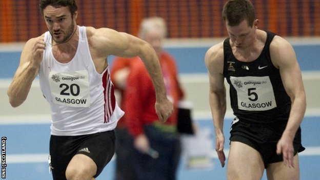 Evans (left) finished fourth in the 60m final at Kelvin Hall