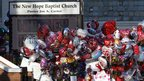 Balloons from well-wishers were placed outside the New Hope Baptist Church ahead of the arrival of some 1,500 people for the private funeral.