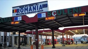 Sign on Romania-Moldova border - file pic