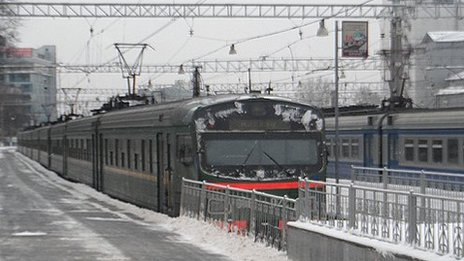 Russian elektrichka train at Kursky station, Moscow