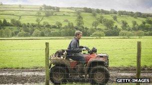 A farmer using a quad bike