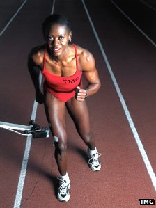 Marlene Ottey with TMG sensor in her leg