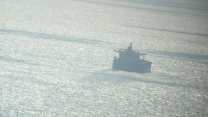 Tanker seen from the air