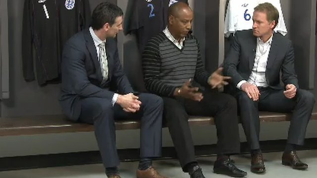 Brendon Batson, former Liverpool defender John Scales and Wales' Ady Williams discuss the issue in the Wembley dressing room