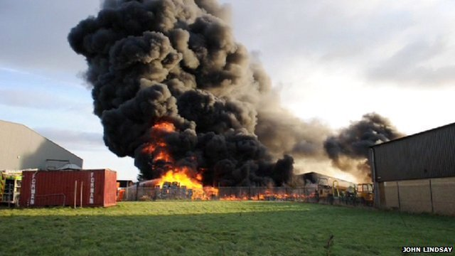 Fire at a recycling plant