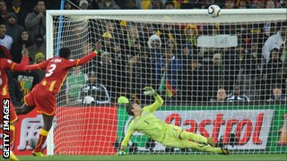 Asamoah Gyan hits the bar against Uruguay in the 2010 World Cup