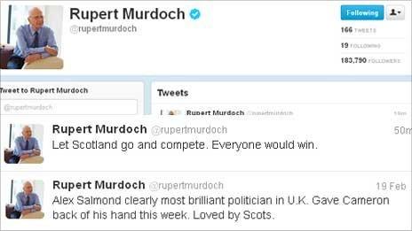 Rupert Murdoch's Twitter Page
