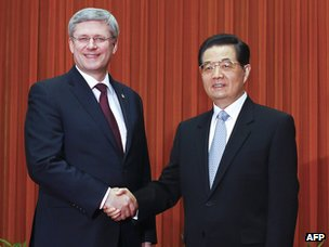 Canadian Prime Minister Stephen Harper and Chinese President Hu Jintao