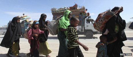 Somali families flee from al-Shabab held towns to Mogadishu following al Qaeda's declaration last week that the Somali militant group al-Shabab was joining its ranks February 16, 2012
