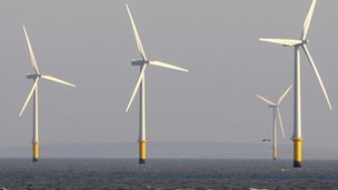 General view of wind turbines at sea