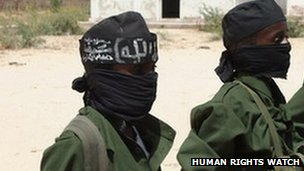 Children recruited by the armed Islamist group al-Shabaab, at a training camp in the Afgooye Corridor, west of Mogadishu, southern Somalia, in February 2011.