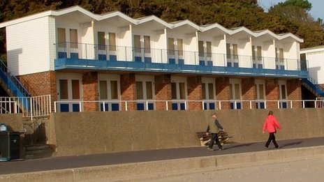 Two-tier beach huts in Poole