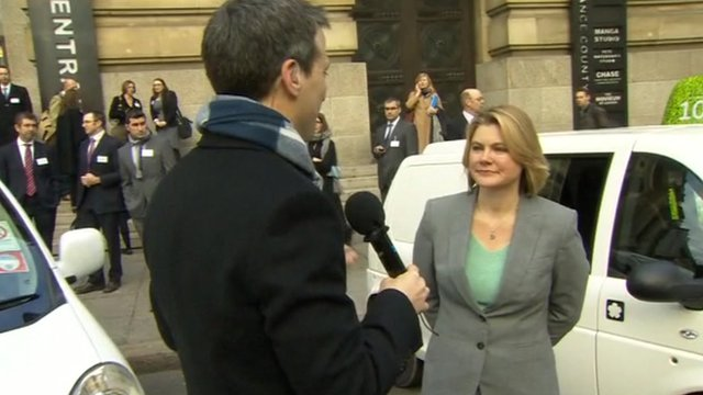 BBC&#039;s Richard Westcott and Transport Secretary Justine Greening 