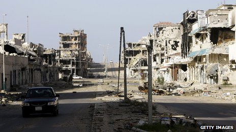 Destroyed buildings in Sirte