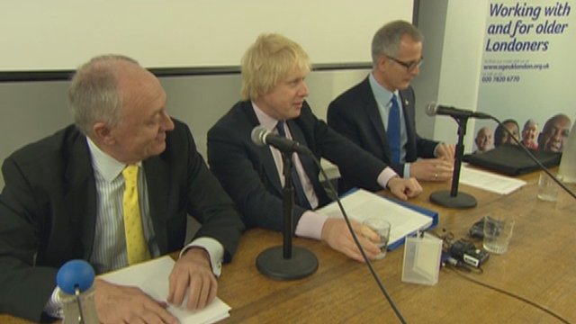 Ken Livingstone, Boris Johnson and Brian Paddick at a hustings event