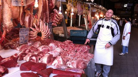 Meat market in Athens