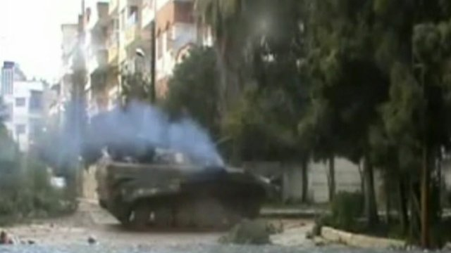 Tanks in a residential suburb of Syria