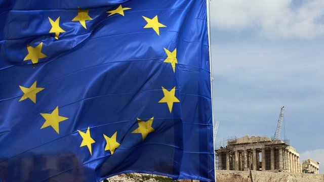 European Union flag in front of the Parthenon temple in Athens