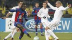 CSKA Moscow&#039;s Seydou Doumbia (second left) fights for the ball with Real Madrid&#039;s Pepe (right) during their Champions League last 16 match at the Luzhniki stadium in Moscow 