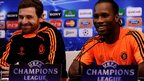 Striker Didier Drogba (right) and Andre Villas-Boas (left) the Chelsea manager speak during a press conference ahead of their last 16 UEFA Champions League match first-leg match against Napoli