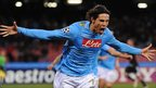 Napoli's Uruguayan forward Edinson Roberto Cavani celebrates after scoring