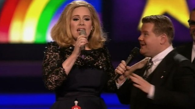 Adele's speech was cut short by James Corden