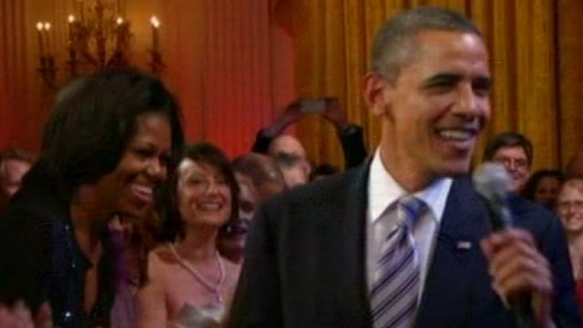 President Obama sings at White House