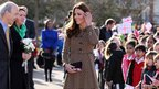 The Duchess of Cambridge speaks to well-wishers as she arrives at Rose Hill Primary School in Oxford