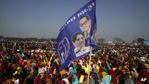 A flag with chief minister Mayawati's image at a rally in Uttar Pradesh.
