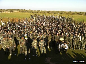 Photograph posted online by activists purportedly showing army defectors in Idlib (21 February 2012)