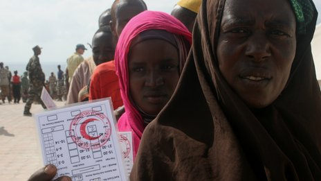 Women queue for Turkish Red Crescent aid using their Red Crescent IDs