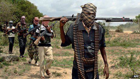 Al-Shabab fighters in the area of Afgoye (file photo)