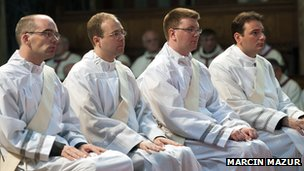 Priests during ordination ceremony
