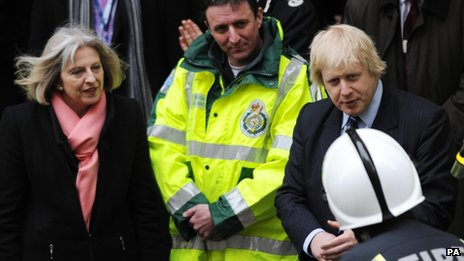 Home Secretary Theresa May and London Mayor Boris Johnson outside Aldwych underground station in central London as part of a security exercise