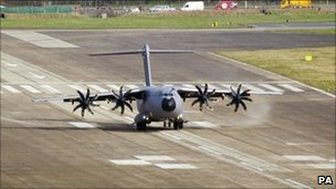 An Airbus A400M landing at Filton in March 2011
