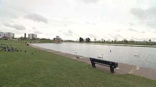 The boating lake at Walpole Park in Gosport