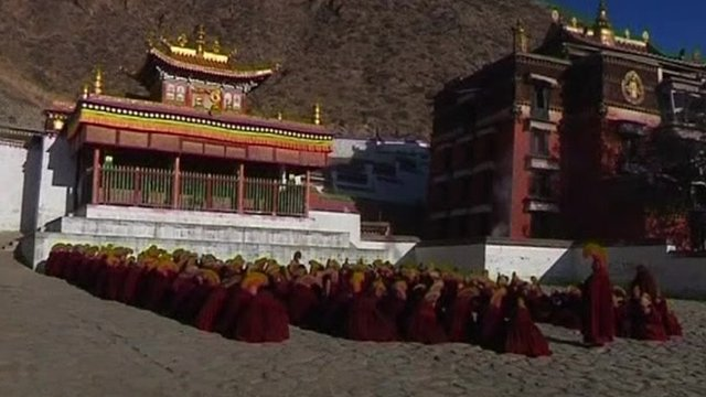 Monks at at monastery in China