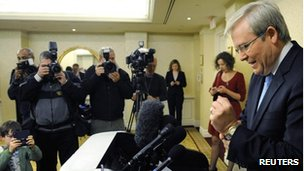 Australian Foreign Minister Kevin Rudd, who resigned unexpectedly, talks to reporters before departing his hotel in Washington DC for Brisbane on 22 February, 2012