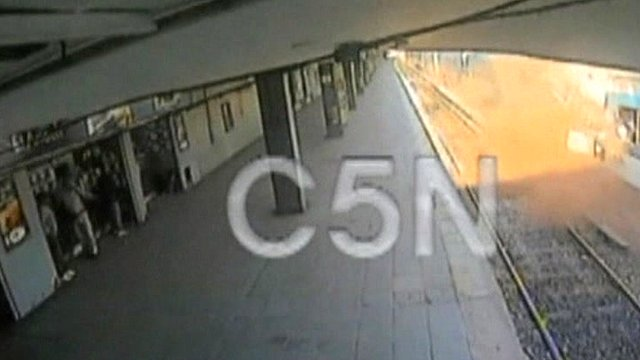 CCTV footage showing the impact of the train crash