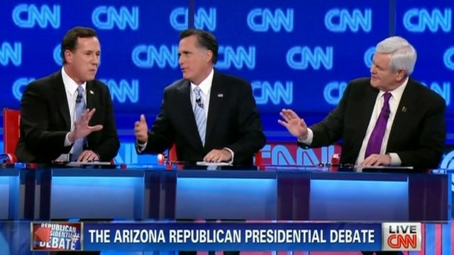 Rick Santorum, Mitt Romney, Newt Gingrich 