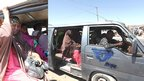 Faduma Aden Mohamud boarding a minibus to go shopping in the Somali capital