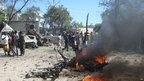 An explosion near the police camp in Hodan district in the Somali capital, Mogadishu, on 17 February 2012