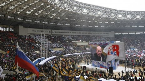 The rally for Vladimir Putin at Luzhniki stadium, Moscow, 23 February