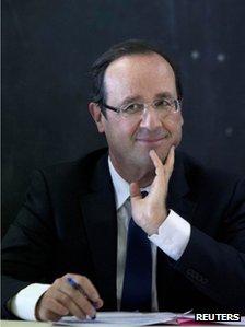 Francois Hollande in Bonneuil-sur-Marne, Paris, 20 February