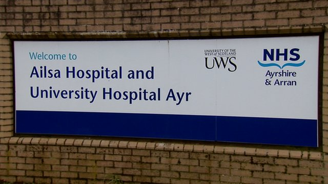Sign for NHS Ayrshire and Arran's Ailsa Hospital and University Hospital Ayr