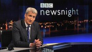 Jeremy Paxman on the set of Newsnight
